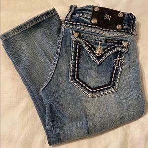 Miss Me Cropped Denim Blue Double Stitch Size 27